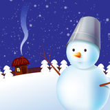 Winter illustration with snowman. And little house Stock Photography