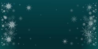 Winter illustration teal with snowflakes baubles. Christmas, new year backdrop. A colorful background with Winter decorations and snowflakes. Winter holidays vector illustration