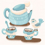 Winter illustration with teapot, mugs and bird Royalty Free Stock Image