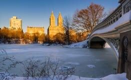 Winter im Central Park und in Upper West Side, New York Lizenzfreies Stockfoto
