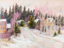 Winter im Dorf lizenzfreie abbildung