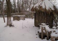 Winter im Dorf Stockbilder