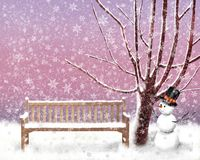 Winter im Gartenschneewettersofaschneemann und -baum stock abbildung