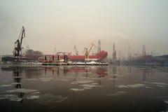 Winter im Kanal. Lizenzfreies Stockfoto