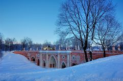 Winter im Palast in Tsaritsyno, Moskau stockfotografie
