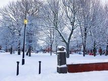 Winter im Park in Leeds, Großbritannien Lizenzfreies Stockbild