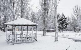 Winter im Stadtpark Stockfotos