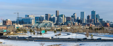 Winter in im Stadtzentrum gelegenem Denver Lizenzfreies Stockfoto