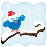 Winter image with cartoon blue bird. Wearing a red christmas hat and snowfall background. Vector illustration Stock Photography