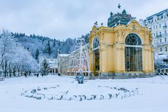 Winter image of Colonnade in Marianske Lazne stock images