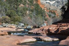 Oak Creek at Rock Slide State Park in the Coconino National Fore. Winter image of Oak Creek at Rock Slide State Park in the Coconino National Forest near Sdeona Stock Photos