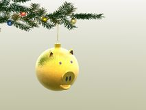 Winter imaginations. Head of a pig. Head of a pig. Winter imaginations. Christmas ornaments. 3D Royalty Free Stock Photography