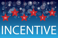 Winter incentive background. With hanging stars and bubbles on blue background.EPS file available Stock Image