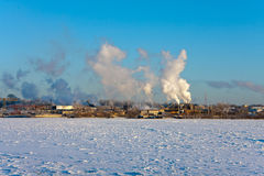 Winter industrial scenery stock photography