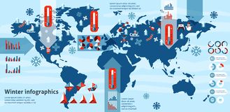 Winter infographics set Royalty Free Stock Photo