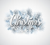 Winter inscription with fir branches and. Snowflakes. Vector illustration EPS 10 Royalty Free Stock Photo