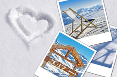 2017 winter instant photos in the snow. Woth a heart Royalty Free Stock Photography