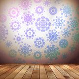 Winter interior walls decorated snowflakes. EPS 10 Stock Image