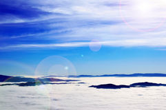Winter inversion. Winter sunny day inversion panorama Royalty Free Stock Photos