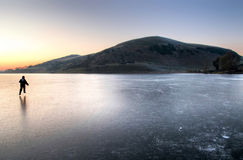 Winter in Ireland. Frozen lake Lough Gur - Ireland Royalty Free Stock Images