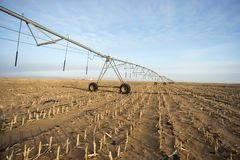 Winter irrigator in arid regions. Sand agricultural details.And irrigation equipment Stock Images
