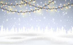 Free Winter Is Coming. Christmas, Snowy Night Woodland Landscape With Falling Snow, Firs, Light Garland, Snowflakes For Winter And New Stock Images - 133085924