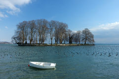 Winter Island. The Isle de la Harpe, on Lac Leman (Lake Geneva) at Rolle, in winter. Waterbirds sheltering in the lee of the island. An obelisk hiding in the Royalty Free Stock Photos