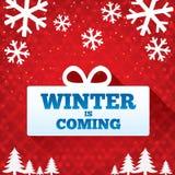 Winter ist kommender Verkaufshintergrund. Weihnachtsverkauf. Stockfoto