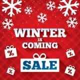 Winter ist kommender Verkaufshintergrund. Weihnachtsverkauf. Stockbild