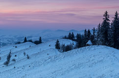 Winter ivening in the mountains Royalty Free Stock Image