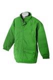 Winter jacket. Green winter jacket. Man casual  waterproof wear isolated Royalty Free Stock Photography