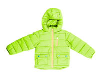 Winter jacket with hood isolated on white stock photography
