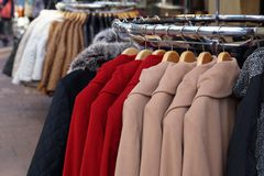 Winter jackets and coats for sale Stock Photography