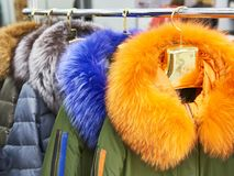 Winter jackets with colored fur collars in clothing store Royalty Free Stock Photos