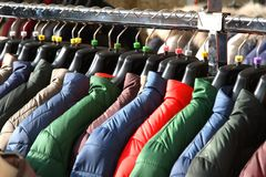 Winter JACKETS for sale at shopping center Stock Images