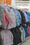 Winter jackets in a store. Winter jackets in a supermarket Stock Photos