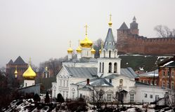 Winter january view of Church Elijah the Prophet and Kremlin Royalty Free Stock Photography