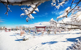 Winter Japanese garden in Almaty. Winter Japanese garden with red pagoda at mountains and blue sky in dendra park of first president in Almaty, Kazakhstan royalty free stock image