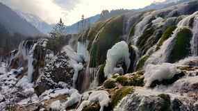 Winter Jiuzhaigou Pearl Beach Waterfall Royalty Free Stock Photos