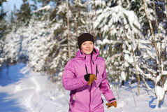Winter jogging Royalty Free Stock Images