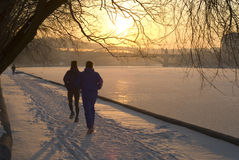 Winter jogging Royalty Free Stock Image