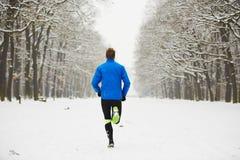 Winter jogging stock photo