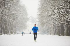 Winter jogging Stock Photography