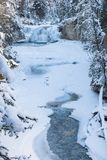 Winter in Johnston Canyon in the Canadian Rockies royalty free stock photos