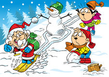Winter joke. The illustration shows how the children have fun and relax in the winter holidays. Illustration done in cartoon style, on separate layers Royalty Free Stock Photo
