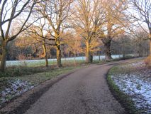Winter Journey. A Country Lane In Winter Royalty Free Stock Image