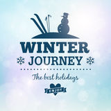 Winter journey holidays poster. Poster card Royalty Free Illustration