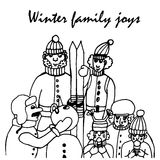 Winter joy in a family, comic cartoon  illustration Royalty Free Stock Images