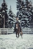 Winter jump horse ride jumping Royalty Free Stock Photos