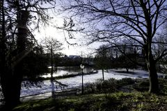 Winter in königlichem Leamington-Badekurort - Pumpenraum/Jephson-Gärten lizenzfreies stockbild